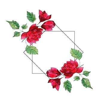 Draad aquarel floralen frames