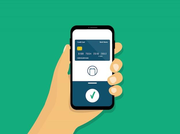 Draadloos mobiel betalen. nfc-betaling. smartphone in de hand. vlakke stijl.