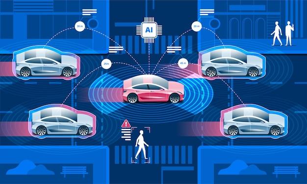 Draadloos netwerk van voertuig. weg in de stad met autonome auto's zonder bestuurder en mensen die op straat lopen.