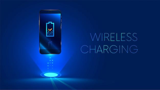 Draadloos opladen van de batterij van de smartphone. toekomst concept