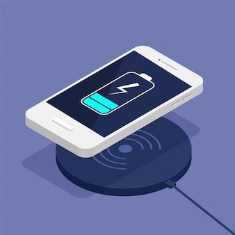 Draadloos opladen van de smartphonebatterij. isometrisch ontwerp. de voortgang van het opladen van de batterij.