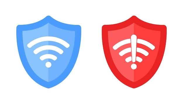 Draadloos schild met tekst vpn en geen vpn wifi pictogram teken plat ontwerp