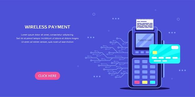 Draadloze betaalterminal met creditcard. vlakke stijl concept banner.