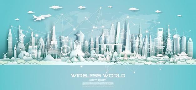 Draadloze communicatie smart city en netwerktechnologie van de wereld.