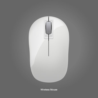 Draadloze computer witte muis die op grijze achtergrond wordt geïsoleerd