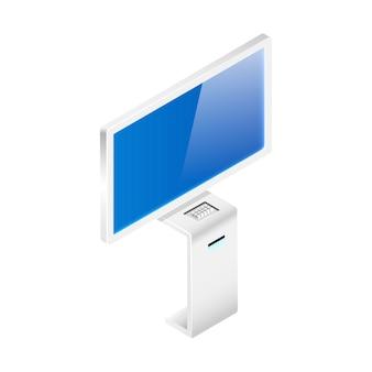 Draadloze digitale paneel isometrische illustratie. productpromotie kiosk egaal kleurobject. interactief digitaal paneel met lege vertoning die op witte achtergrond wordt geïsoleerd. moderne technologie