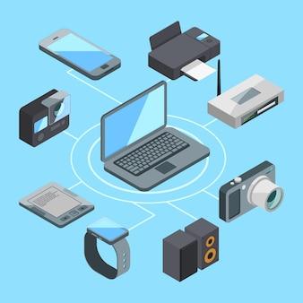 Draadloze of wifi-verbinding in de buurt van laptop en andere computergadgets. modem en router