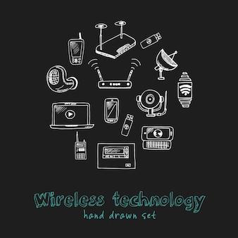 Draadloze technologie hand getrokken doodle set