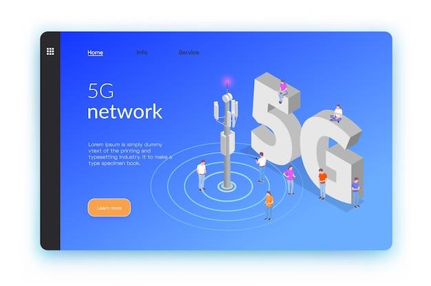 Draadloze technologieën isometrische banner of bestemmingspagina met vijf g netwerk