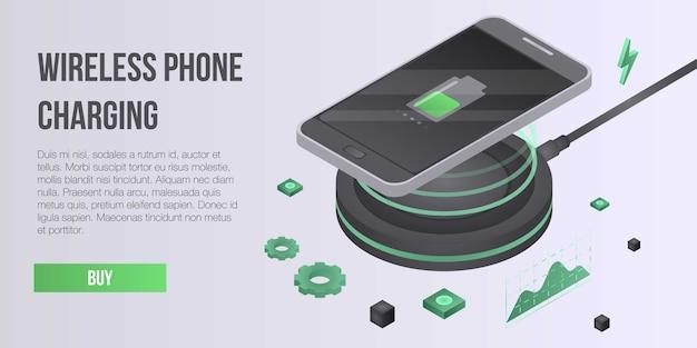 Draadloze telefoon opladen concept banner, isometrische stijl