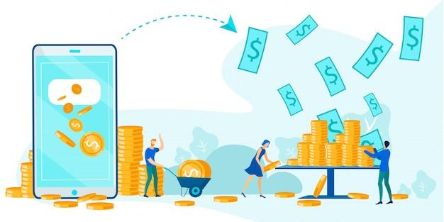 Draadloze virtuele geldoverdracht, app voor e-wallet