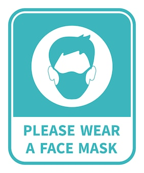 Draag alstublieft een gezichtsmasker. aandacht teken. coronovirus epidemie beschermend. vector illustratie