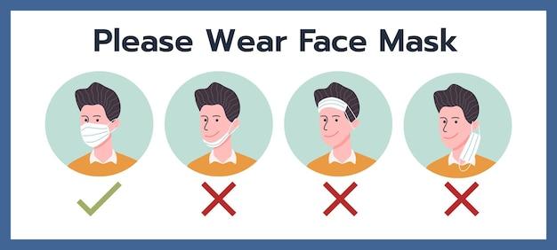 Draag alstublieft een gezichtsmasker, draag instructie door een stripfiguur in vlakke stijl.