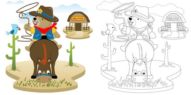 Draag de cowboy zittend op paard
