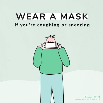 Draag een masker coronavirus pandemie sociale sjabloon bron who
