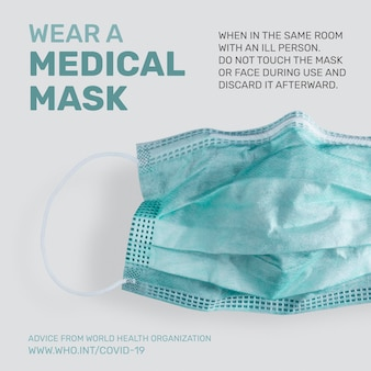 Draag een masker covid-19 pandemie advies door who vector sociale advertentie