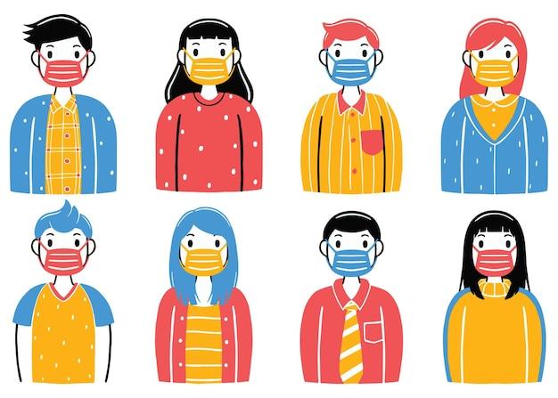 Draag een masker in platte ontwerpstijl