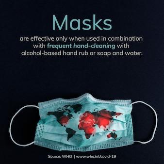 Draag een masker om uzelf te beschermen tegen de bron van de berichtsjabloon voor het coronavirus-bewustzijn who-vector