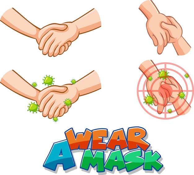 Draag een maskerlettertypeontwerp met virusverspreiding door handen schudden op een witte achtergrond