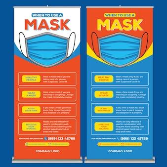 Draag een maskerposterafdruksjabloon in platte ontwerpstijl