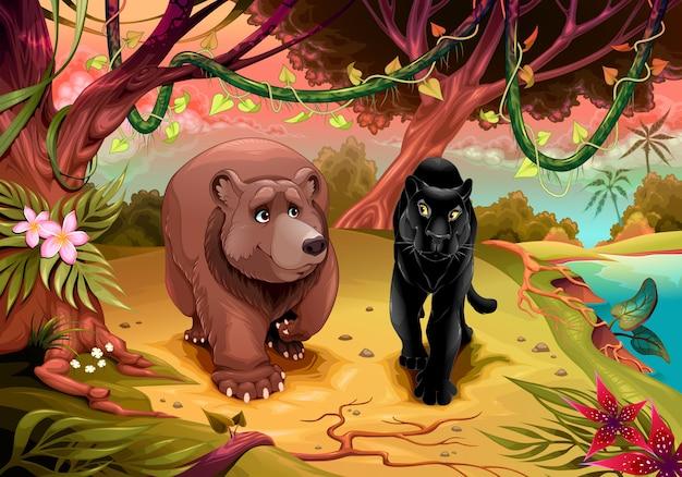 Draag en zwarte panter die samen in het bos lopen