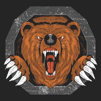 Draag grizzly boos hoofd vectorkunstwerk