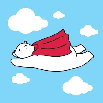 Draag het vectorkarakter van het kaapbeeldverhaal van de ijsbeer vliegend