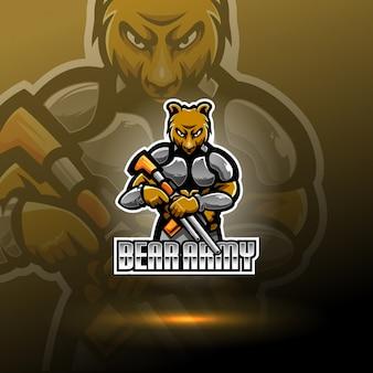 Draag leger esport mascotte logo