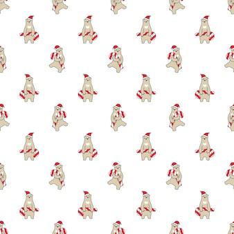 Draag polair naadloos patroon kerstmis de kerstman van het suikergoedriet
