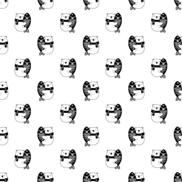 Draag polair naadloos patroon vis teddy stripfiguur