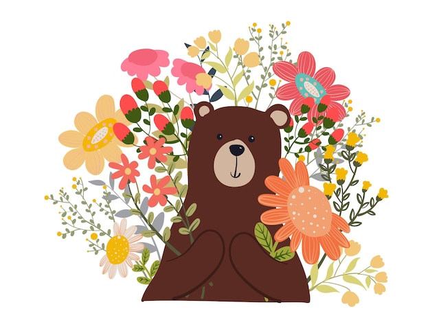Draag polar met flower doodle illustration