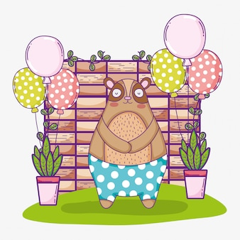 Draag schattige dieren gelukkige verjaardag met ballonnen