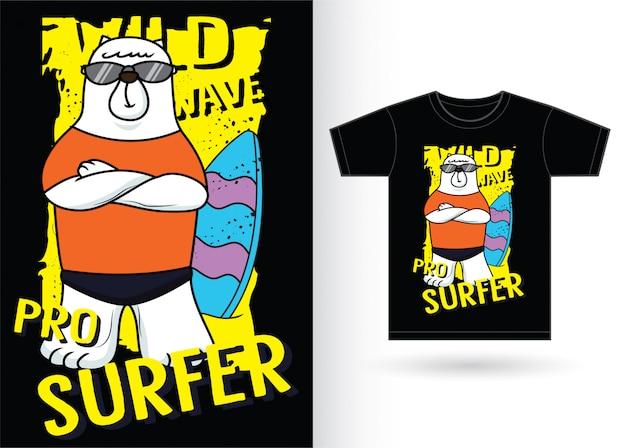 Draag surfer cartoon voor t-shirt