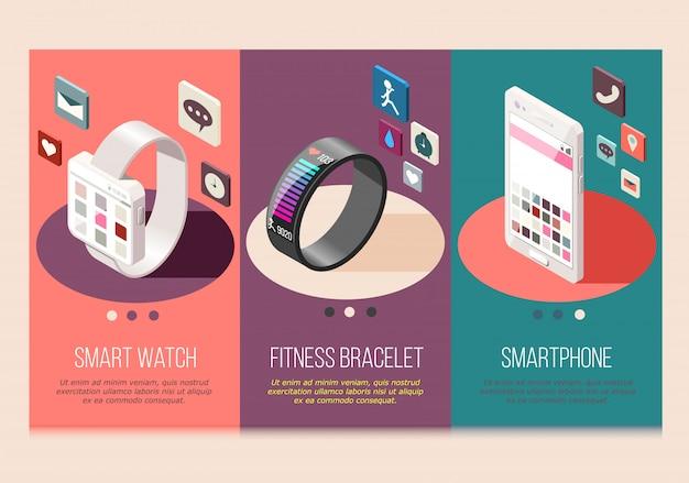 Draagbare elektronica slimme telefoon en horloge fitness armband set isometrische composities geïsoleerd
