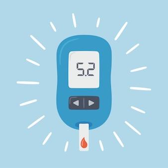 Draagbare glucometer met normale waarden. bloedglucosetest. bloedsuikerwaarden. diabetesbeheersing en diagnostiek. medische meetapparatuur.