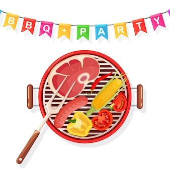 Draagbare ronde barbecue met grillworst, biefstuk, gebraden geïsoleerde vleesgroenten