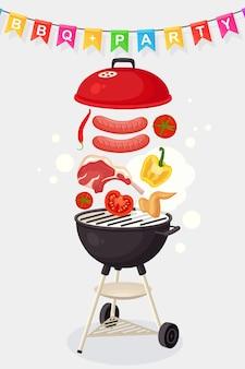 Draagbare ronde barbecue met grillworst, biefstuk, ribben, gebakken geïsoleerde vleesgroenten
