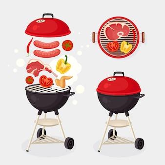 Draagbare ronde barbecue met grillworst, biefstuk, ribben, gebakken vleesgroenten op achtergrond. bbq-apparaat voor picknick, familiefeest. barbecue pictogram. cookout evenement concept