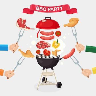 Draagbare ronde barbecue met grillworst, biefstuk, ribben