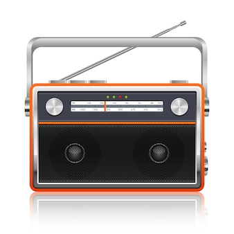 Draagbare vintage radio illustratie op witte achtergrond