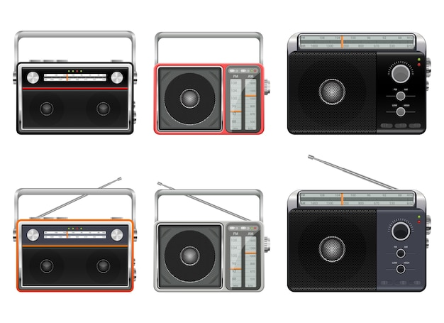 Draagbare vintage radio-ontwerp illustratie geïsoleerd op een witte achtergrond