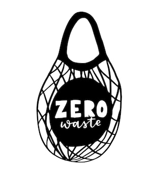 Draagtas met handgetekende letters. plastic free future en set productenzakken om te winkelen, opslag. vlakke stijl vectorillustratie voor eco-winkel, natuurvoedingswinkel, lokale marktbanner, veganistische site