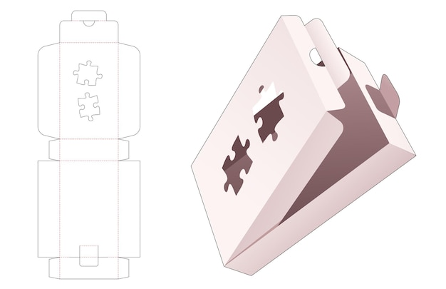 Draai rechthoekige doos en vergrendelde punt om met gestencilde gestanste sjabloon in de vorm van een puzzel