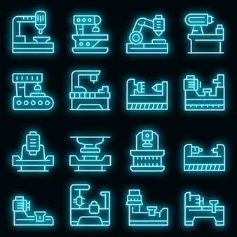 Draaibank pictogrammen instellen. overzicht set draaibank vector iconen neon kleur op zwart