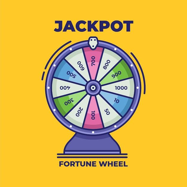Draaiend fortuinwiel lucky roulette vectorillustratie kleurrijk rad van fortuin