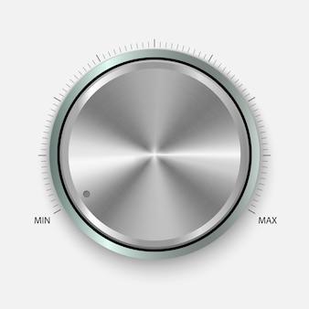Draaiknop. realistische knop met circulaire verwerking. volume-instellingen, geluidscontrole