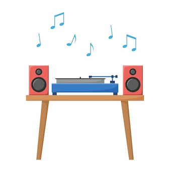 Draaitafel die vinylplaat afspeelt retro audioapparaat met akoestisch systeem analoge muziekspeler