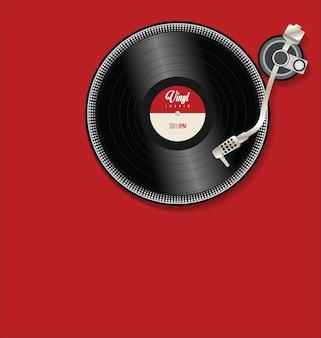 Draaitafel en vinylplaat plat eenvoudig concept illustratie