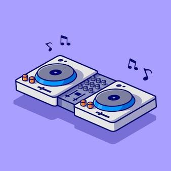 Draaitafel muziek dj met vinyl cartoon vector pictogram illustratie. technologie muziek pictogram concept geïsoleerde premium vector. platte cartoonstijl