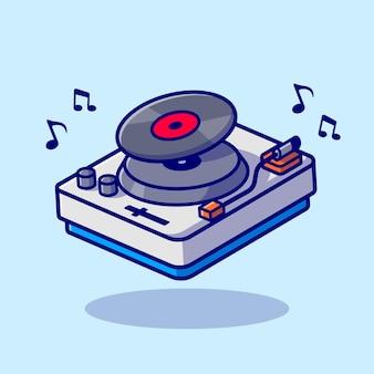 Draaitafel muziek met vinyl cartoon vector pictogram illustratie. technologie muziek pictogram concept geïsoleerde premium vector. platte cartoonstijl